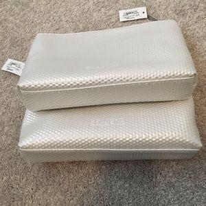 2 x Space NK White Geometric Textured Makeup Bag